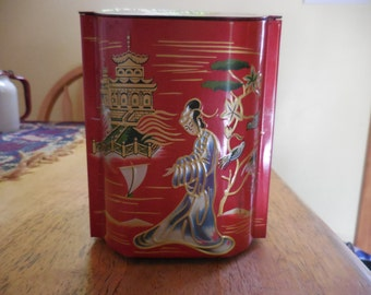 Vintage Asian Inspired Red Tin Hinged Top Temple Gold/Black/Silver Storage Oriental Decor 1960s