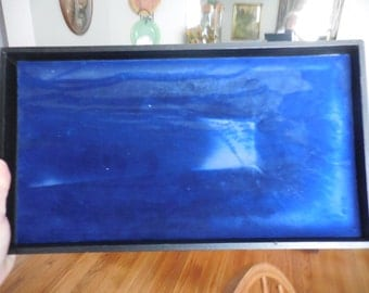 Black Tray/Box/Board With Blue Velvet Inside For Display Craft Shows/Fairs Jewelry/Stones Gently Used Rectangle