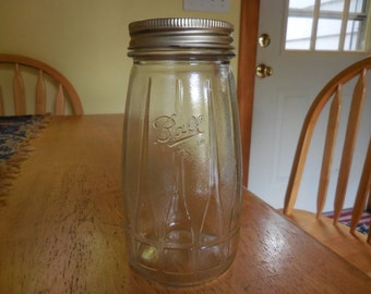 Vintage Ball Glass Canning Jar (1) Large 1960s to 1970s Art Deco Look Tapered Mason Textured