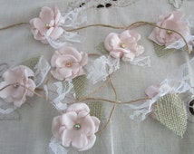 Fabric flower garland, Rustic Wedding garland, Backdrop decoration Shabby chic flower decoration, Blush pink garland, Party decorations