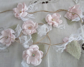 Fabric flower garland, Rustic Wedding decoration, Wedding garland, Shabby chic flower decoration, Blush pink garland, Party decorations