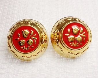 """Tulip Trio: 3/4"""" (19mm) Metal and Enamel Buttons - Set of 2 Matching Vintage Dill Buttons"""