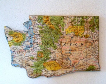 WASHINGTON State Map Wall Decor | Vintage National Geographic Map | Gallery Wall | Mini Size
