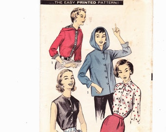 Advance 8333 Three-In-One Shirt Blouse Vintage Pattern 1950s Size 12, Bust 32""