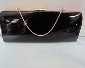 Lovely PATENT LEATHER PURSE Black with Silver Hardware Mint Condition