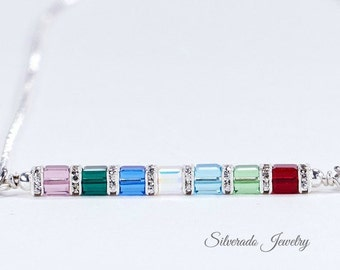 Mother's Birthstone necklace, 1-8 crystals, Swarovski Crystal horizontal sideways pendant - Grandmother's Necklace: Mother's Day, New Mom