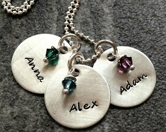 Personalized Mother's 3 disc Hand stamped Necklace: Swarovski Crystals. Custom Mom's sterling silver jewelry. 3 kids.Christmas, Mother's Day
