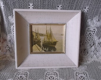 Cottage beach, tall ships picture, Vintage framed picture, shabby, rustic chic