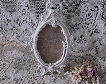 Ornate baroque Cherub oval frame, shabby french country, distressed creamy white