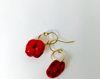 Red poppy Earrings black center, gold fill, Lilyb444, Red lover item,