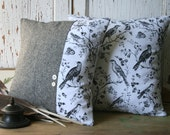 Tweed BIRD Decorative Throw Pillow Cover SET - 14 Inch, Black, White