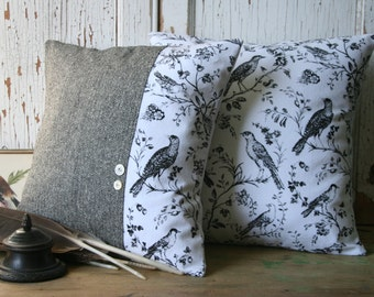 BIRD Pillow Cover Set - Black, White, Toile, Recycled Wool Tweed 14 Inch - FREE SHIPPING