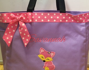 Personalized Fox Girl Tote Bag Baby Diaper Bag