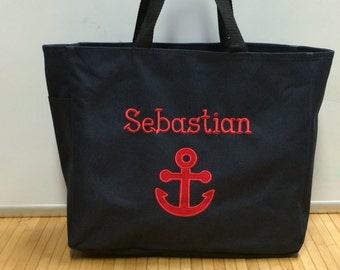 Personalized Baby Kids Anchor Nautical Sailor Navy Diaper Bag Tote