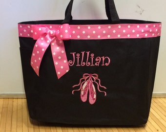 Personalized Ballet Slippers Ballerina Dance Tote