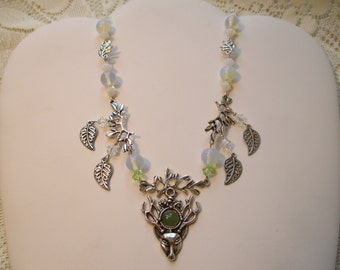 White Stag Celtic Legend Necklace with Nephrite, Opalite, Swarovski Crystals and silver plate