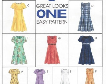 90s Womens Princess Seam Dress in 2 Lengths McCalls Sewing Pattern 8107 Size 16 18 20 Bust 38 40 42 UnCut 9 Great Looks 1 Easy Pattern