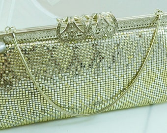 Vintage 70s Metal Mesh Evening Clutch or Convertible Handbag Gold and Silver Tone Silver Filigree Closure Wedding Bag or Birthday Gifts