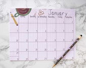 2016 Monthly Calendar. Desk Calendar. Desk Pad. Desktop Calendar.
