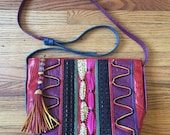 Funky Unique Leather Purse with Beaded Tassel - Colorful Abstract - Fresh Prince - Saved by the Bell