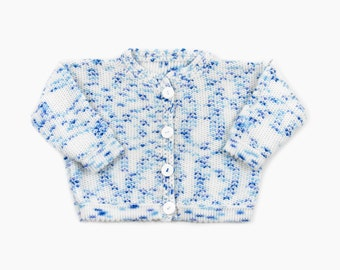 Knitted Baby Cardigan - White with Blue, 12 /18 months