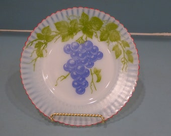 Depression Glass Petalware Salad Plate with Grapes, Fired On Red Trim