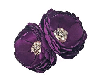 Eggplant Purple Hair Clips, Shoe Clips, Brooch for a Bride, Bridesmaid Gift, Photo Prop - Fabric Flower - Swarovski Crystal and Pearl - Kia