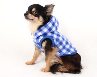 Dog Clothes Blue Buffalo Plaid gigham Cute polar fleece dog hoodie