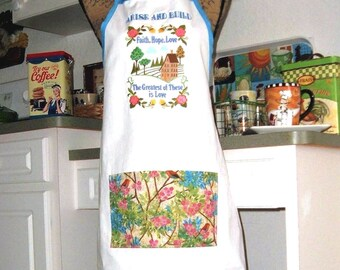 "Kitchen Chef Handmade  Apron Embroidered ""The Greatest of this is Love"""