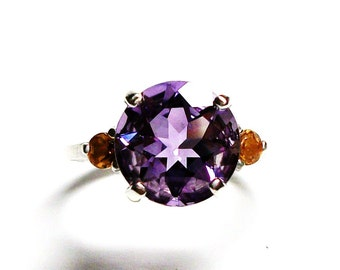 "AAA amethyst, amethyst 3 stone ring, anniversary ring, amethyst jewelry, amethyst ring, purple orange,  s 6 1/2  ""Purple Mountains Majesty"""