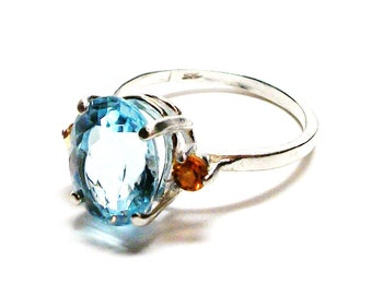 "Topaz ring, sky blue topaz,  topaz accent ring, birthstone ring, blue orange, s71/2  ""Blue Dancer"""