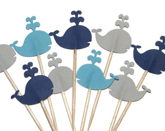 Whale Cupcake Toppers, 24 in  Navy, Blue and Gray-  Party Picks- Baby Shower, Birthday Party