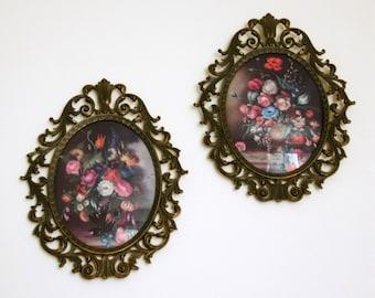 Framed Art Prints, Still Life Paintings Made in Italy, Large Ornate Frames, Hollywood Regency Decor
