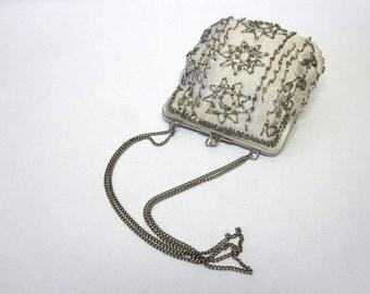 Vintage Walborg Beaded Silver Handbag Evening Purse