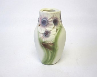 Vase Flower Holder 50's Purple Green White