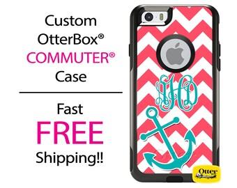 iPhone OtterBox Commuter Case for iPhone 7, 7 Plus, 6/6s, 6 Plus/6s Plus, 5/5s/SE, 5c Galaxy S7 S6 S5 Note 5 Monogrammed Chevron Anchor Case