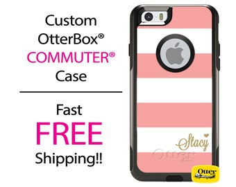 iPhone OtterBox Commuter Case for iPhone 7, 7 Plus, 6/6s, 6 Plus/6s Plus, 5/5s/SE, 5c Galaxy S7 S6 S5 Note 5 Monogram Pink Gold Striped Case