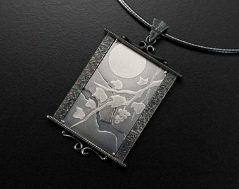 The moon and leaves Keum Boo silver Japanese art pendant necklace II