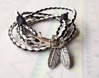 black white wrap leather wrap bracelet biker bracelet unisex men unisex women unisex bracelet