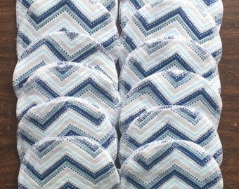 Nursing pads/Facial Wipes 12 sets (24 total) made with 4 layers of 100% cottlon flannel Grey and Blue Chevron pattern