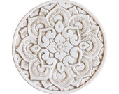 wall hanging made from ceramic with mandala design, outdoor wall art, ceramic tile with circle design, mandala 21cm, beige and white