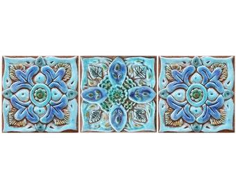 Ceramic wall art Suzani wall hangings, outdoor wall art with Suzani design, Suzani 15cm, 3 tiles, turquoise
