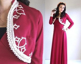 Sale vtg 70s Raspberry SOUTACHE military MAXI DRESS crochet xs/s boho hippie empire