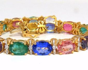 33.21ct natural Sapphires Garnets Emeralds Spinel Tourmaline Zircon Bracelet 14k
