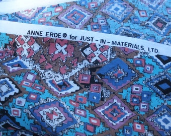"Designer Boho fabric Anne Erde 3 yards 59""W by 111""L yardage cotton Just-In-Materials LTD Quilting Sewing tribal geometric light colors"