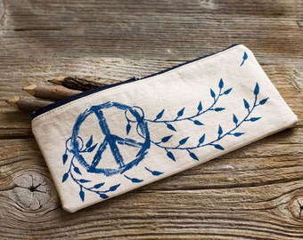 Hand Painted Peace Symbol Pencil Case in Navy and White, Natural Cotton Pen Holder, School Supplies