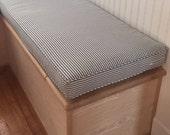 Custom Mallory Navy Stripped Bench Cushion