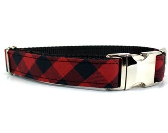 Buffalo Plaid Dog Collar with Metal Buckle   Red and Black Plaid Dog Collar   Holiday Dog Collar