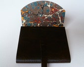 SMALL Leather Journal Leather Sketchbook. Dark Brown with an Antique Finish. Lined with a Traditional Hand Made English Marbled Paper.