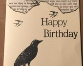 Blank inside. Birthday card with envelope. Handmade with old book pages, rubber stamps & India ink. Frameable.